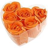 SODIAL (R) 6 pz sapone profumati petali di rosa Rosa arancione doccia con scatola cuore