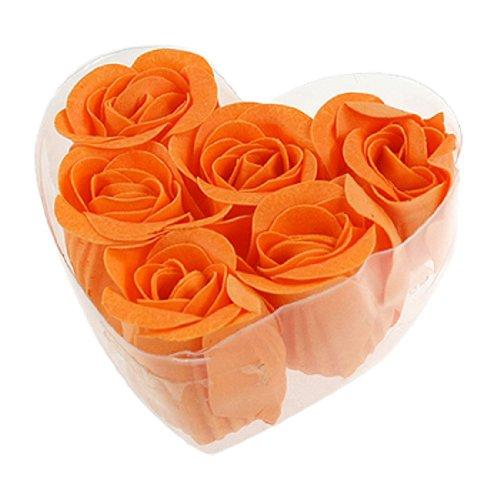 6 Pièces pétales de savon roses fleurs parfumé Bain Savon Pétales Orange boîte en forme de Cœur
