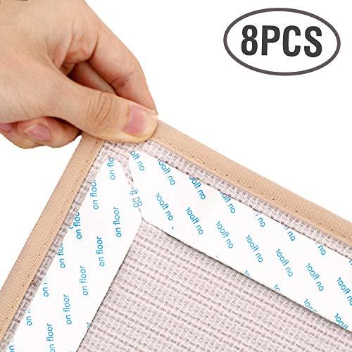 Lewondr Teppichgreifer, 8 STÜCKE Matte Teppich Pad Rutschfeste Ecken Griffe Aufkleber Schwere & Wiederverwendbare Teppich Grippers Band für Holzböden Küche Bad, Große Größe - Weiß - Teppich-pad
