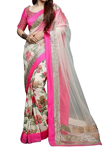 Saree (Vinayak Women\'s Net and Georgette Saree with blouse piece)