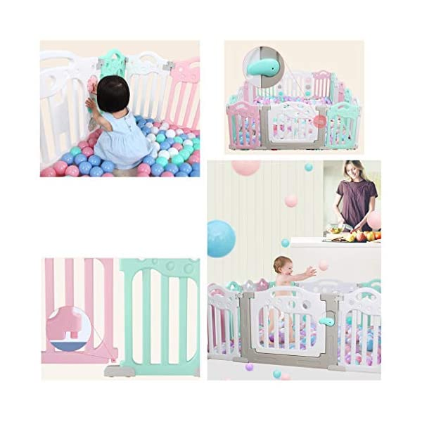Baby Playpen HUYP Pet Fence Panels Baby Fence Play Area Children's Indoor Crawling Toy Safety Fence (color : Pink, Size : 12 small pieces) Baby Playpen  5