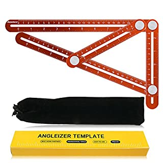 Annstory Multi Angle Measuring Ruler, Premium Aluminum Alloy Easy Angle Ruler Template Tool with Unique Line Level for DIY, Carpenters, Craftsmen Sturdy & Durable (Orange)