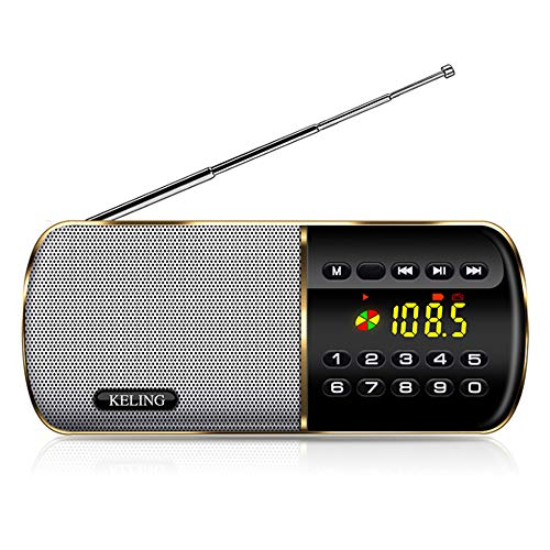 PLAIPH FM Radio, Radio Portable AM FM Radio, Full-Band Radio FM Radio Portable Student Four Or Six English Listening Test Dedicated Portable Music Playback, with Backlight 12/24H Time Display,Gold
