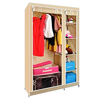 Double Canvas Wardrobe with Clothes Rail Shelves Bedroom Storage Furniture - cheap UK wordrobe store.