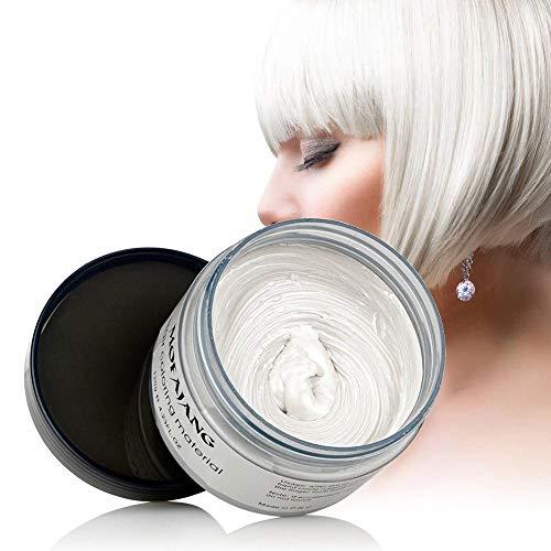 Hamkaw cera capelli colorata, 120ml uomo donna monouso per capelli tintura fango parrucchiere crema capelli styling colorazione cera, bianco