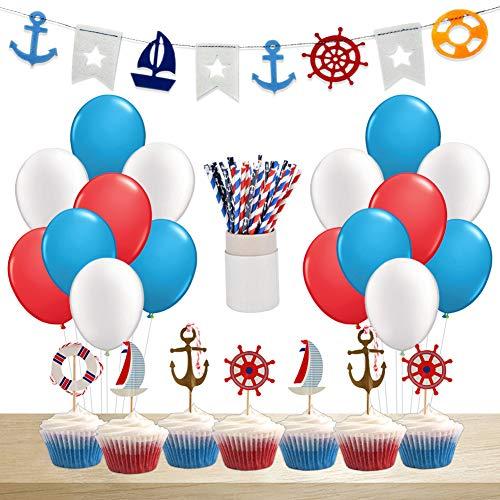 (KREATWOW Nautical Party Supplies & Decorations Nautische Baby Shower Cupcake Toppers Wimpelkette Banner Segelstrohhalme Luftballons für Baby Jungen Geburtstag Babyparty Supplies)