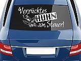 GRAZDesign 740371_70x31_053G Heckscheibenaufkleber für Heck Auto Tattoo Aufkleber Spruch Verrücktes Huhn (70x31cm//053 Hellblau)