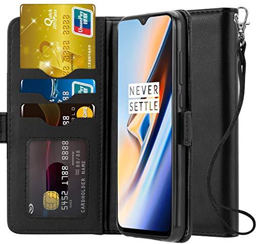 Ferilinso für OnePlus 6T Hülle, Elegantes Echtes Leder mit ID Kreditkarten-Slots Halter Flip Cover Stand Magnetic Closure Case für OnePlus 6T (Schwarz)