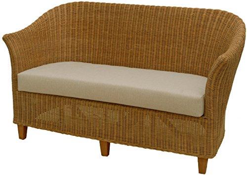 Rattan-Sofa 2-Sitzer CLUB in der Farbe Honig inkl. Sitzpolster Beige, Couch aus echtem Rattan