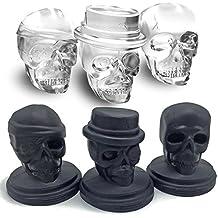 Kidac Teschio Stampi per Ghiaccio in Silicone Novità Grande Skull Ice Cube Molds BPA Gratuito Nero (Un Set di 3 Diversi Stampi per Teschi)
