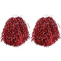 VORCOOL Pompones de porristas, un par de Anillos de plástico de 50 g. Equipo de vítores para la Competencia Tanto de la Universidad Infantil como de la Escuela Secundaria. Eventos Deportivos (Rojo)