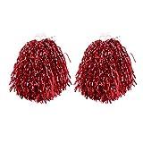 VORCOOL 1 Paar Cheerleader Pompons Metallic Tanzwedel Sport Pompoms Puschel Party Cheer Zubehör (Rot)