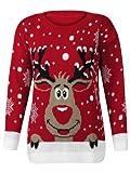 Fashion Factor - Damen Weihnachten Neuheit Pullover Top Rudolf Das Rentier - Rot, 36-38