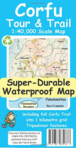 Corfu Tour and Trail Super-Durable Map -