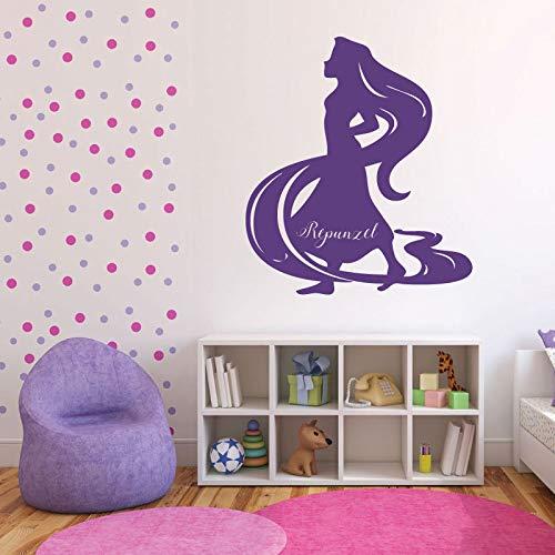 zhuziji Princess Rapunzel Wall Stickers for Kids Rooms Cartoon Vinyl Removable Baby Girls Home Decor Mural Nursery Playroom Decal 86x98cm (Decor Rapunzel Party)