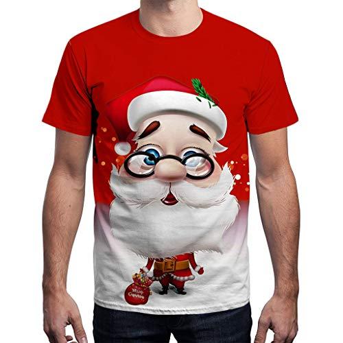 KPILP Herren Rundhals Shirt Weihnachts Kurz Shirt Casual Tee Christmas Hemd Tops Damen Oberteile Crew Neck Sweatshirt mit Weihnachtsmann Drucken