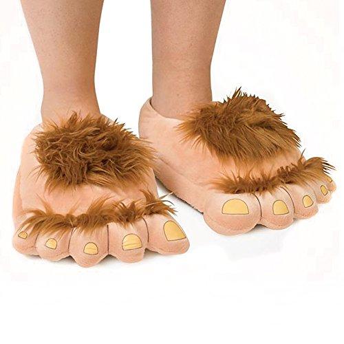 Amorar Plüsch Hausschuhe Erwachsene Baumwolle Pantoffel Slipper Furry Neuheit Schuh Kappe große Füße Hausschuhe Spaß Kostüm Winter Schlappen Haus Boden Schuhe (Große Furry Kostüme)