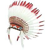 Indian Kopfschmuck Native American Chief Weiß Federn rot Tipps schwarz Spots