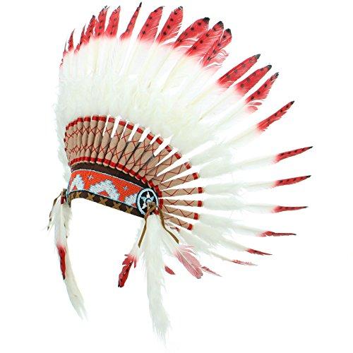 Gringo Indianerhäuptling-Kopfschmuck Gr. Einheitsgröße, Red with Black Spots -