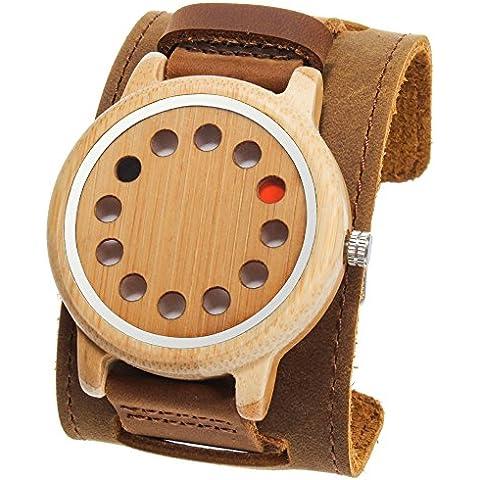 funkytop Hombre bambú Relojes 12agujeros Diseño japonés cuarzo reloj de pulsera sin segunda mano