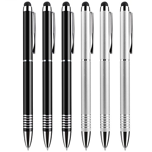 , Kugelschreiber, iCoCo 2 in 1 Eingabestift Universal kapazitiver Stylus Touchscreen,Touchstift für Kindle iPad iPhone Samsung Galaxy HTC, Tablets und andere kapazitive Bildschirme Geräte, Metall-tablet stift (Schwarz + Silber) (Kindle Touch Screen Kugelschreiber)