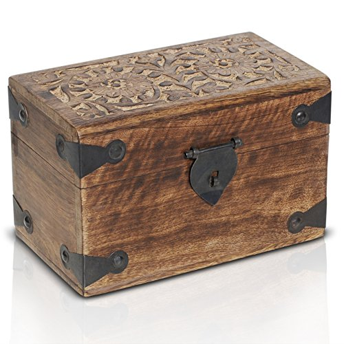 Caja de madera con candado de BRYNNBERG  Cofre del tesoro pirata de estilo vintage   Hecha a mano   Diseño retro  