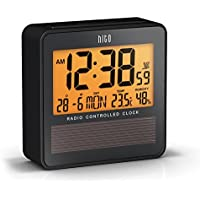 HITO™ Atomic Radio Controlled Travel Alarm Clock w/ Date, Temperature Humidity, Week, Alarm Status, Backlight - Battery Operated w/ Solar Panel