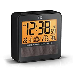 HITO™ Atomic Radio Controlled Travel Alarm Clock w/ Date, Temperature Humidity, Week, Alarm Status, Backlight - Battery Operated w/ Solar Panel by HITO