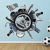 Motorrad Teile Wandaufkleber Fahrräder Wandtattoo Kunst Garage Jungen Wohnkultur Erhältlich in 8 Größen Riesig Digital