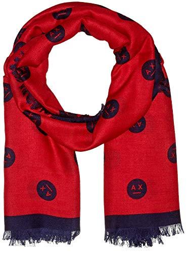 Armani Exchange Damen Fashion Scarf Schal, Rot (Bloody Mary/Blue Angel 0415), One Size (Herstellergröße: TU)