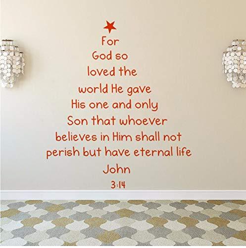 Lvabc Bibel Vers Weihnachtsbaum Wandtattoo Removable Bible Vers Wandkunst Aufkleber Home Decaoration Weihnachten Fenster Wandbilder Kunst 57X66 Cm