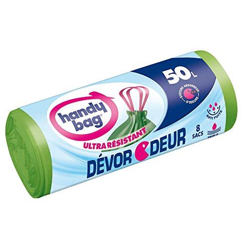 Handy-Bag, 4008871211668 Sacs poubelle à poignées coulissantes Devor odeur ultra-resistants, 50 L (68 x 73 cm)1 rouleau de 8 sacs