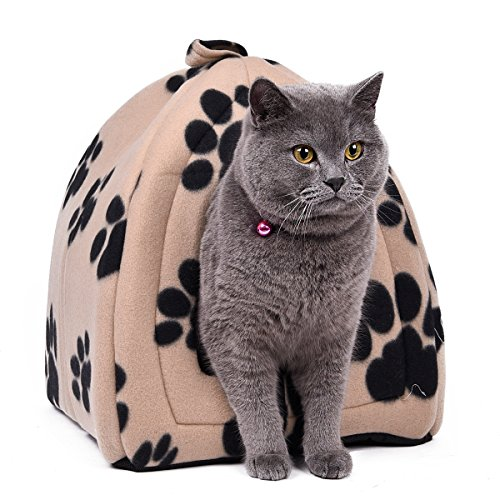 Ohana - morbida cuccia per gatti e cani di piccola taglia, con stampa di impronte di zampa, lavabile, con cuscino, 40 x 32 x 32 cm