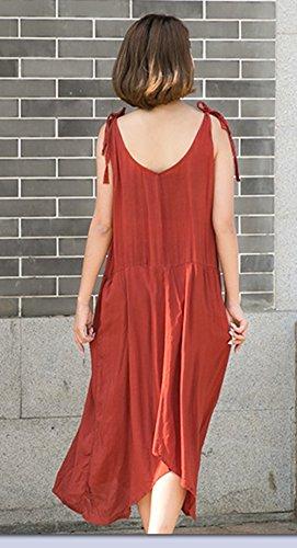 Blansdi Femme Coton Col Rond Sans Manches à Bretelle Vest Lâce Large Casual Robe Longue Tunique Maxi Robe de Soiree Bal Plage Loose A-line Robe Rouge