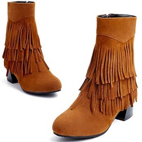 COOLCEPT Damen klassische Wildleder Blockabsatz Schuhe der koreanischen Art gesäumten Stiefel mit seitlichem Reißverschluss Braun