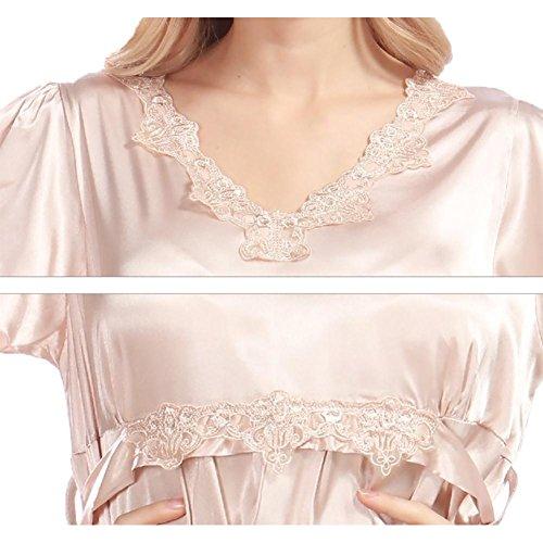 YUYU Frauen Sommer Seide Pyjamas Weiche Komfortable Geringes Gewicht Schlafzimmer Nachthemd Camel