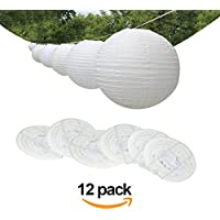 "ilauke 6""(15cm) Round White Paper Lanterns for Wedding Birthday Party Decorations Crafts, 12 Pieces"