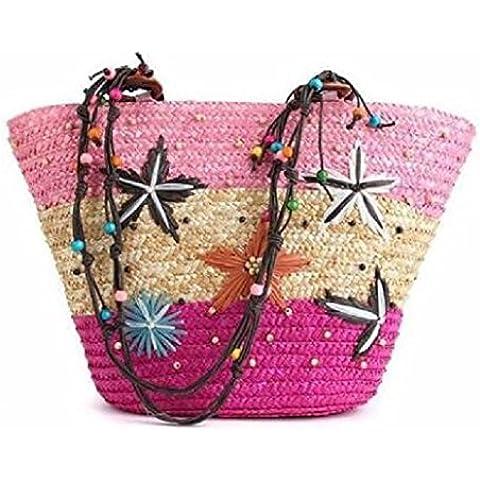 interestiny Donna Estate Paglia Beach Tote Bag borsa a tracolla