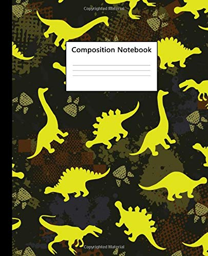 Composition Notebook: Neon Kids Dinosaurs Blank Wide Ruled Notebook for College & School | Pretty Dino T-Rex Blank Wide Lined Journal For Students, Kids & Teens for Writing & Notes. -