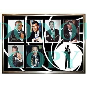 James Bond 007Photoencadrée Signée par Sean Connery Roger Moore Pierce Brosnan Daniel Craig Timothy Dalton George Lazenby Seul sans blue ray ou dvd