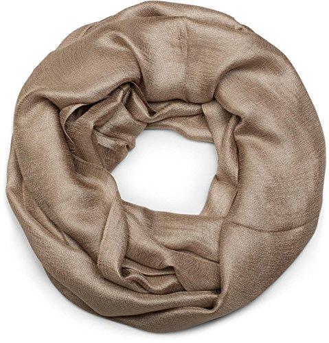 styleBREAKER Loop Schal leicht und seidig in Unifarben, Schlauchschal, Tuch, Unisex 01017063, Farbe:Khaki