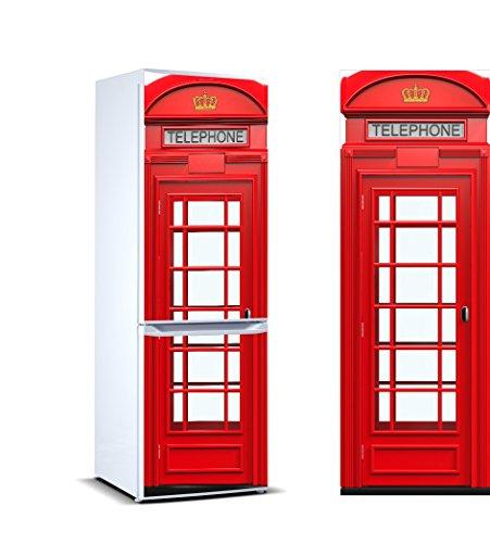 Pegatinas 3D Vinilo para Frigorífico cabina telefonos londres|Varias Medidas 185x60cm | Adhesivo Resistente y de Facil Aplicación | Pegatina Adhesiva Decorativa de Diseño Elegante|