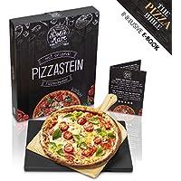 DOLCE MARE Pizzastein Schwarz - Pizza stein aus hochwertigem Cordierit für den Backofen & Grill - Backstein für knusprige Pizza wie beim Italiener - Inklusive Pizzaschieber - Brotbackstein | Backstein