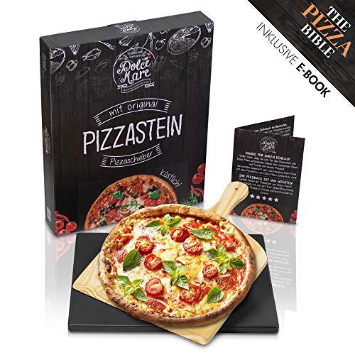 DOLCE MARE Pizzastein Schwarz - Pizza stein aus hochwertigem Cordierit für den Backofen & Grill - Backstein für knusprige Pizza wie beim Italiener - Inklusive Pizzaschieber - Brotbackstein | Backstein (Cordierit Pizza-stein)