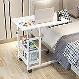 HJBH Fiberboard / Stahl Struktur Tisch Home Computer Schlafsaal Einfache Tabelle Wirtschaftlich Praktisch Höhenverstellbar Mobile Bequeme Größe: Länge 80cm / Breite 40cm / Höhe (83--93cm) Farbe: (Elfe