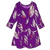SEWORLD Oberteil Bluse Elegant Kleid Damen Damenmode Damen Vintage Tunika Blumendruck Langarm V-Ausschnitt Mieder Bluse Shirt Tops(Y3-lila,EU-48/5XL)