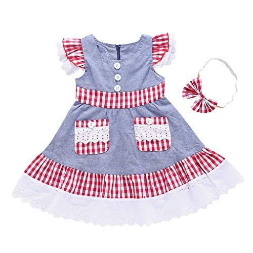 KIMODO Baby Mädchen Kleid mit Tasche und Karierter, Kleinkind Fliegenhülle Spitze Rüschen Tütü Sommer Urlaub Prinzessin Kleidung + Stirnband-Outfits