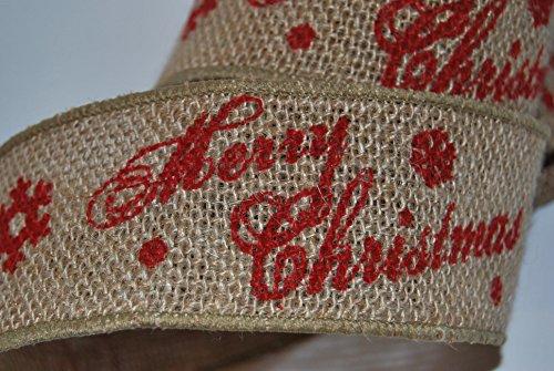 Ribbon Queen Rustikales Weihnachts-Geschenkband mit Aufschrift Merry Christmas (nicht in deutscher Sprache), Breite 5,1cm, aus Jute / Sackleinen, mit Draht eingefasstes Band, 3 m