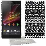 StyleBitz / Coque rigide avec motif géométrique pour Sony Xperia Z / C660x / C6603 Avec protection d'écran et tissu de nettoyage de nettoyage (Noir/blanc)