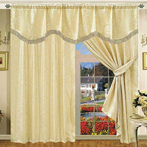 Ssp coppia di tende plissettate ready made in jacquard con mantovana e cravatta di tende completamente foderate (non è fissato con mantovana) (colore amazon beige) (228,6 x 274,3 cm)
